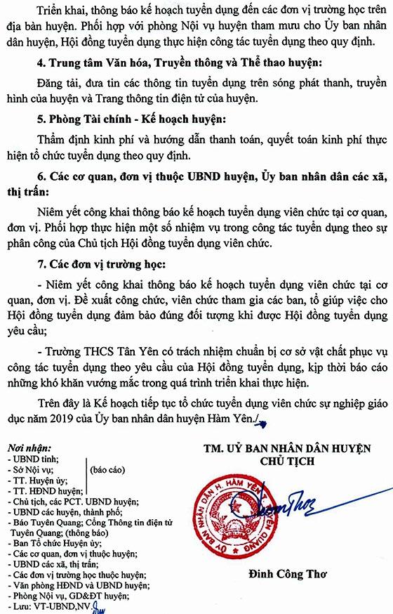 UBND huyện Hàm Yên, Tuyên Quang tuyển dụng giáo viên năm 2020