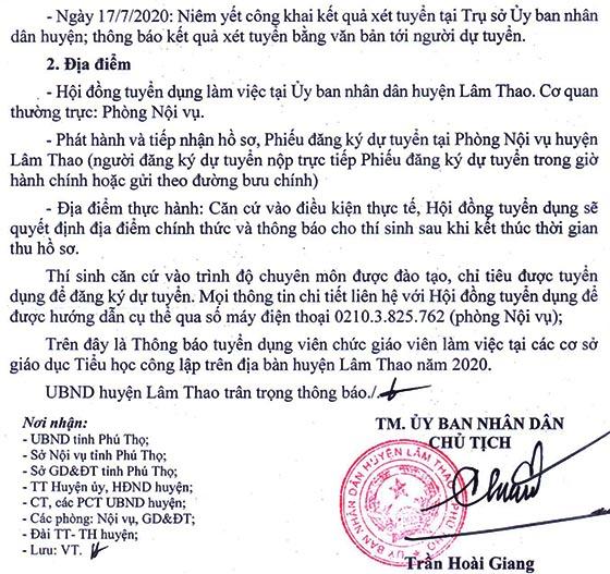 UBND huyện Lâm Thao, Phú Thọ tuyển dụng giáo viên năm 2020