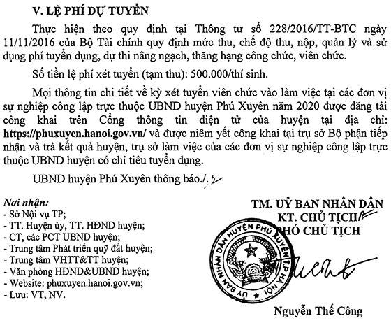 UBND huyện Phú Xuyên, TP.Hà Nội tuyển dụng viên chức năm 2020