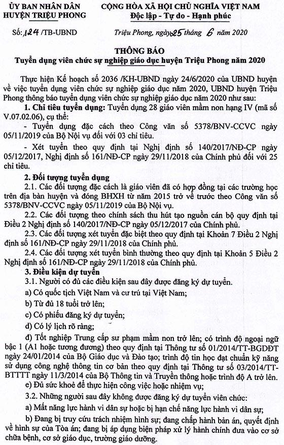 UBND huyện Triệu Phong, Quảng Trị tuyển dụng giáo viên mầm non năm 2020