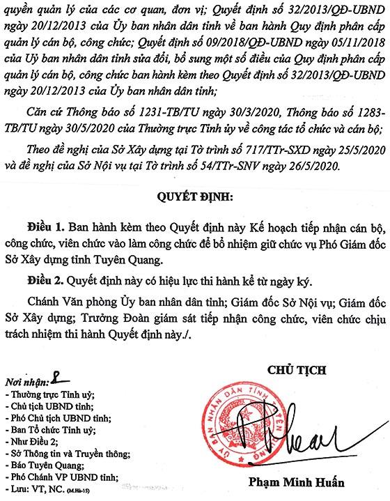 UBND tỉnh Tuyên Quang tiếp nhận vào làm công chức năm 2020