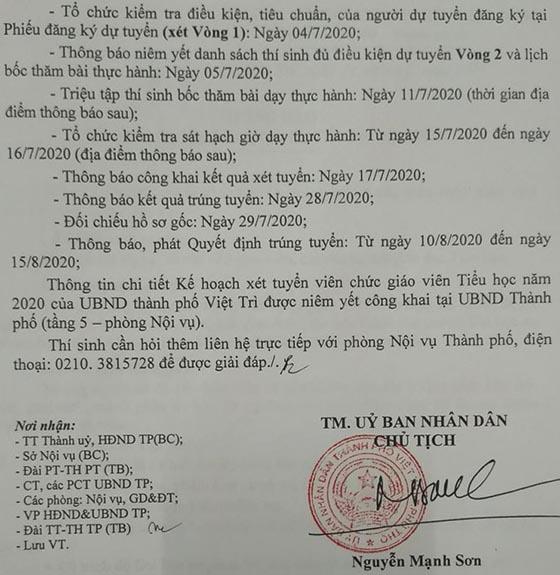 UBND TP.Việt Trì, Phú Thọ tuyển dụng giáo viên năm 2020