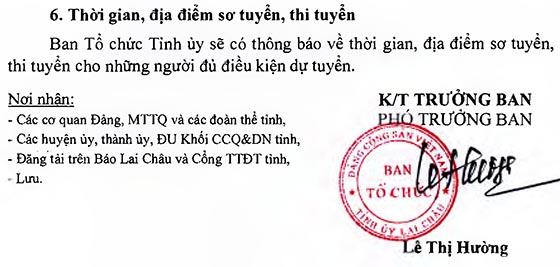 Ban Tổ chức Tỉnh ủy Lai Châu tuyển dụng công chức, viên chức đợt 2 năm 2019