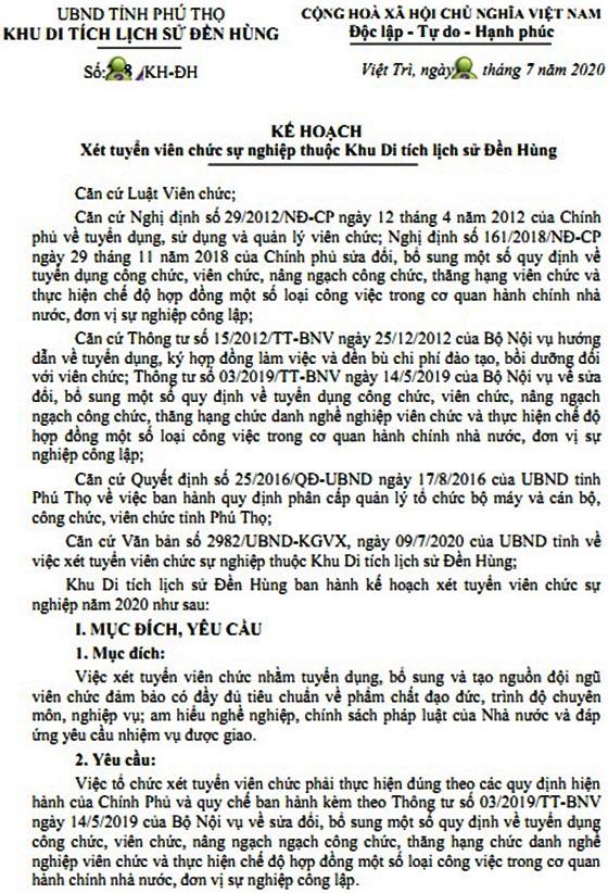 Khu Di tích lịch sử Đền Hùng, Phú Thọ tuyển dụng viên chức năm 2020