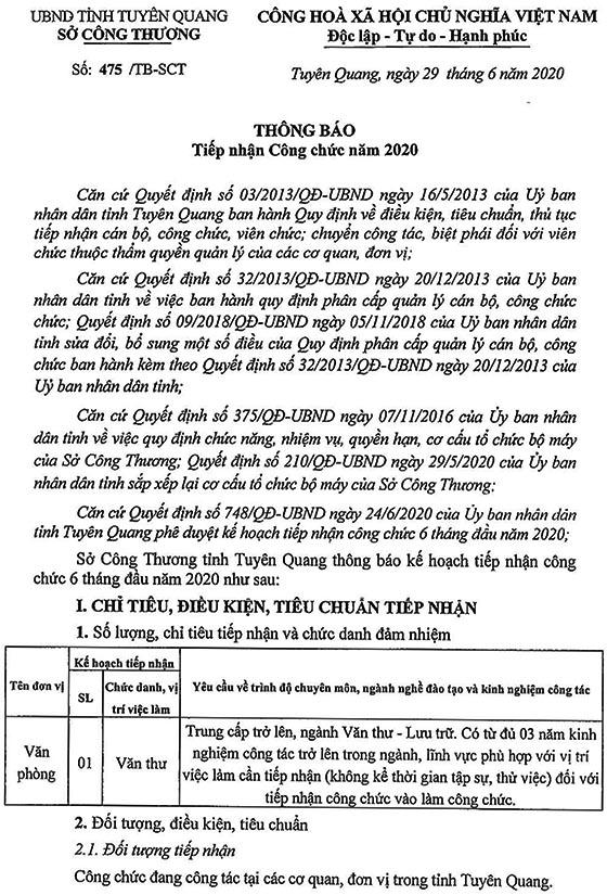 Sở Công thương tỉnh Tuyên Quang tiếp nhận công chức năm 2020