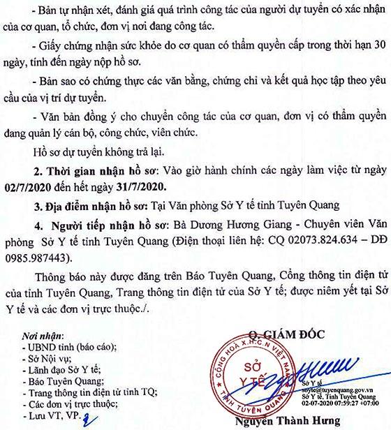 Sở Y tế tỉnh Tuyên Quang tiếp nhận công chức năm 2020