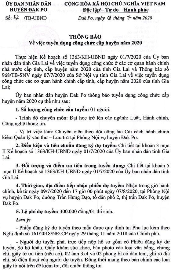 UBND huyện Đak Pơ, Gia Lai tuyển dụng công chức cấp huyện năm 2020