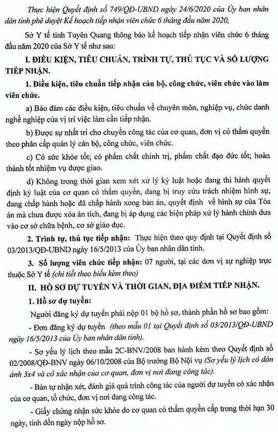 Sở Y tế tỉnh Tuyên Quang tiếp nhận viên chức năm 2020