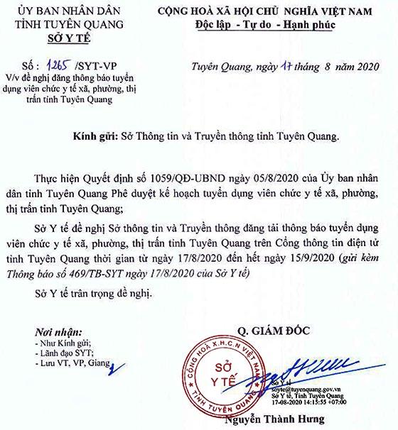 Sở Y tế tỉnh Tuyên Quang tuyển dụng viên chức năm 2020