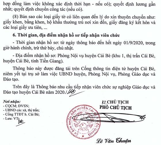 UBND huyện Cái Bè, Tiền Giang tiếp nhận viên chức giáo dục năm 2020