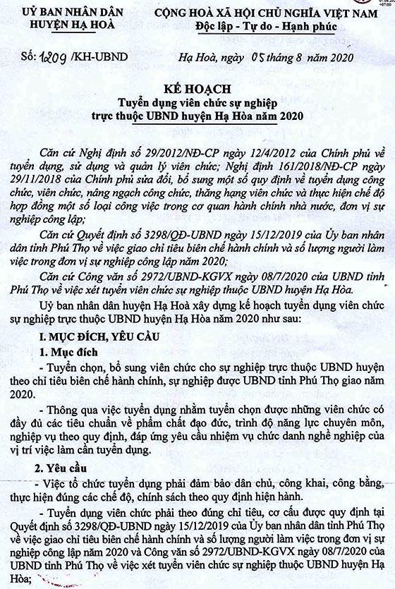 UBND huyện Hạ Hòa, Phú Thọ tuyển dụng viên chức năm 2020