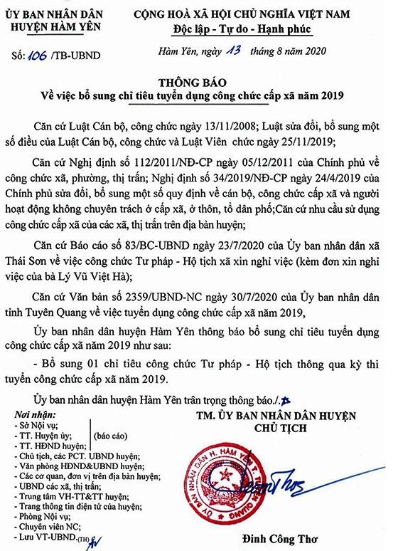 UBND huyện Hàm Yên, Tuyên Quang bổ sung chỉ tiêu tuyển dụng công chức cấp xã năm 2020