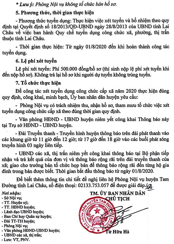 UBND huyện Tam Đường, Lai Châu tuyển dụng công chức cấp xã năm 2020