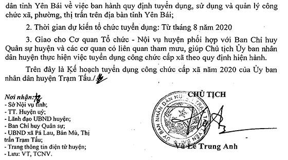 UBND huyện Trạm Tấu, Yên Bái tuyển dụng công chức cấp xã năm 2020