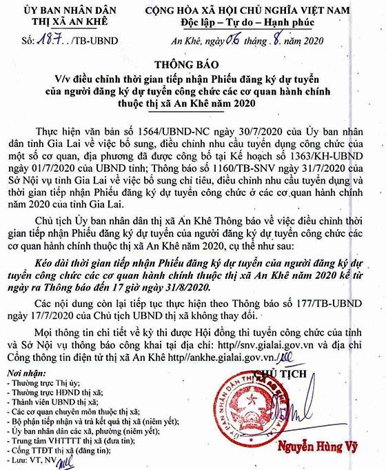 UBND Tx.An Khê, Gia Lai tuyển dụng công chức năm 2020