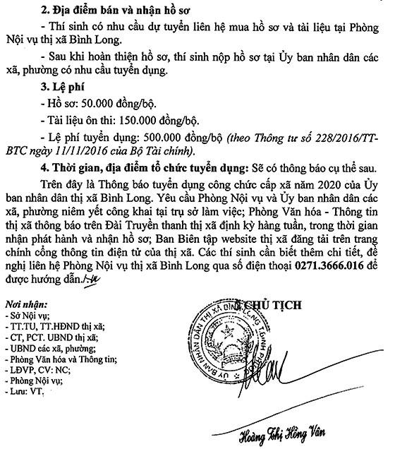 UBND Tx.Bình Long, Bình Phước tuyển dụng công chức cấp xã năm 2020