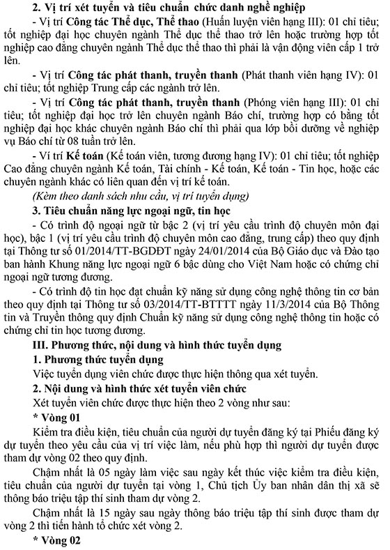 UBND Tx.Hòa Thành, Tây Ninh tuyển dụng viên chức năm 2020