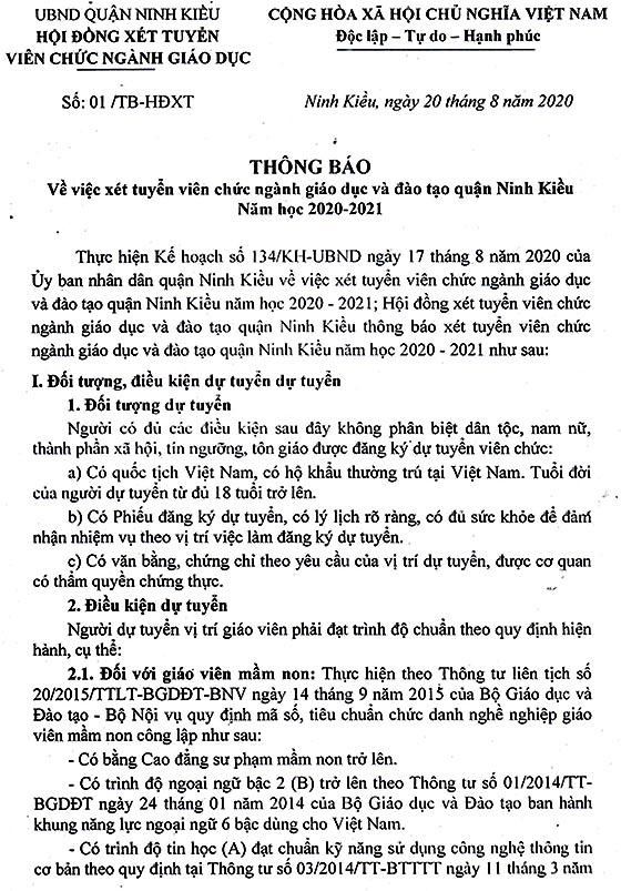 Hội đồng xét tuyển viên chức ngành giáo dục quận Ninh Kiều, TP.Cần Thơ tuyển dụng viên chức năm 2020
