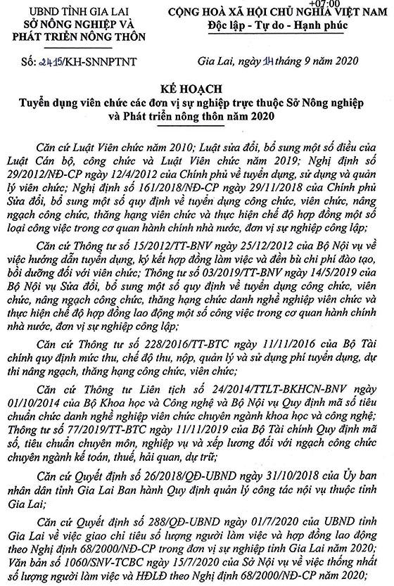 Sở Nông nghiệp và PTNT tỉnh Gia Lai tuyển dụng viên chức năm 2020