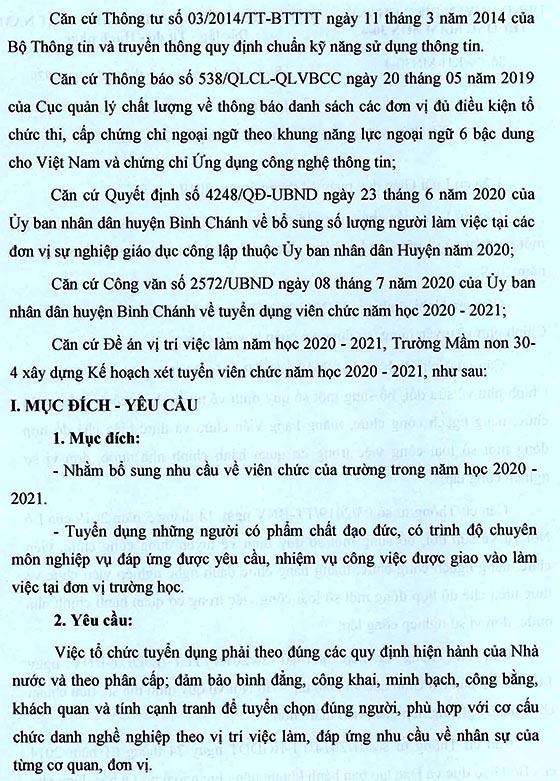 Trường Mầm non 30-4, Bình Chánh, TP.HCM tuyển dụng viên chức năm học 2020-2021