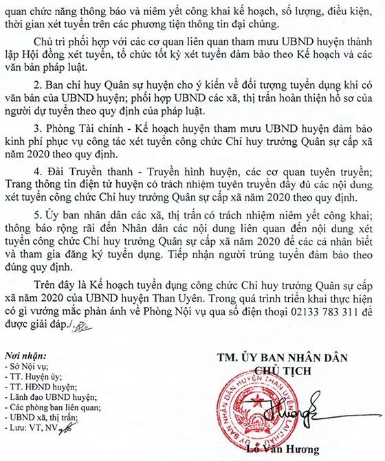 UBND huyện Than Uyên, Lai Châu tuyển dụng công chức Chỉ huy trưởng Quân sự xã năm 2020