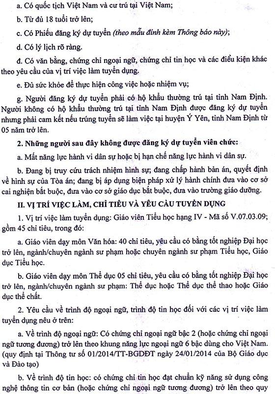 UBND huyện Ý Yên, tỉnh Nam Định tuyển dụng giáo viên tiểu học năm 2020