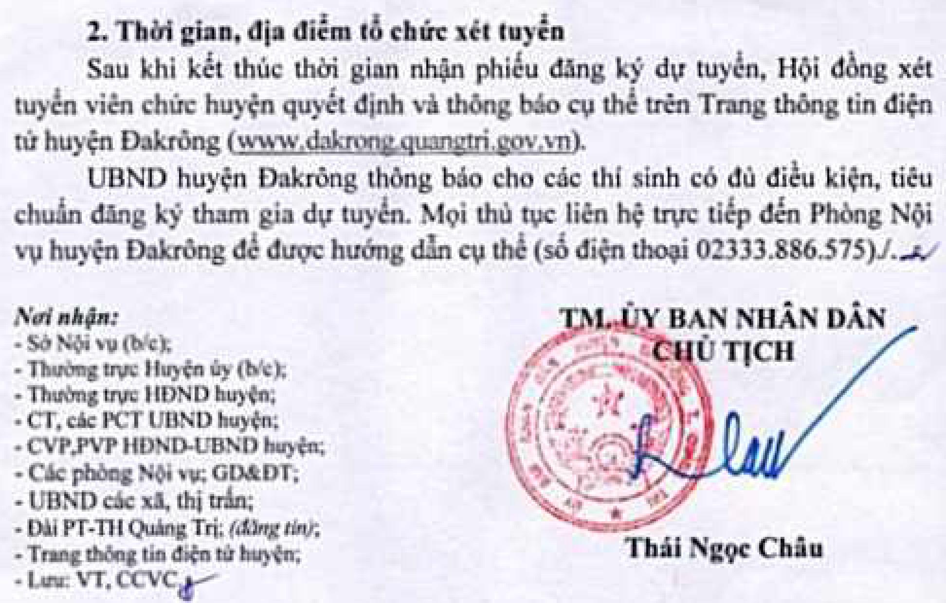 UBND huyện Đakrông, Quảng Trị tuyển dụng viên chức giáo dục năm 2020