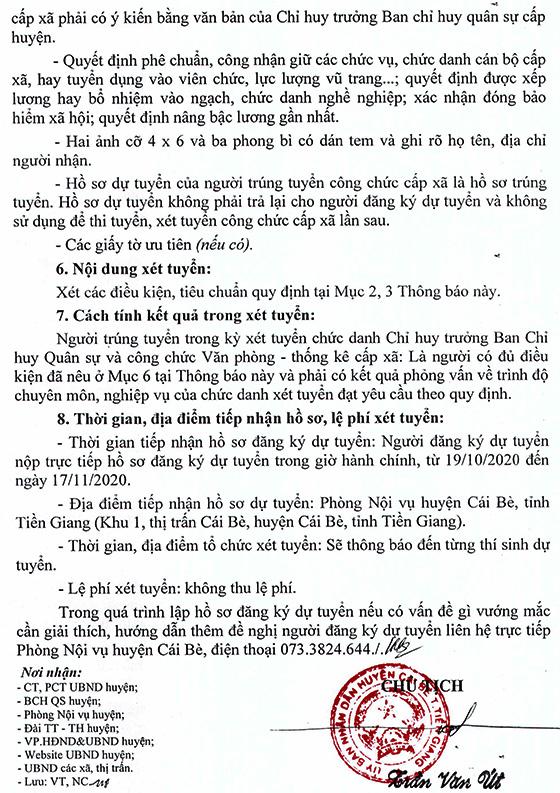 UBND huyện Cái Bè, Tiền Giang tuyển dụng công chức cấp xã năm 2020