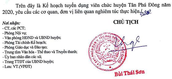 UBND huyện Tân Phú Đông, Tiền Giang tuyển dụng viên chức năm 2020