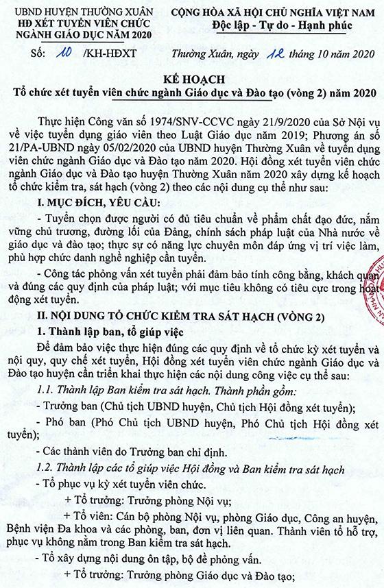 UBND huyện Thường Xuân, Thanh Hóa thông báo kế hoạch xét tuyển vòng 2 viên chức ngành GD&ĐT năm 2020