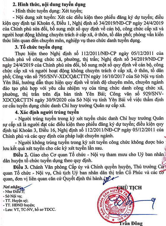 UBND huyện Trấn Yên, Yên Bái tuyển dụng công chức cấp xã năm 2020