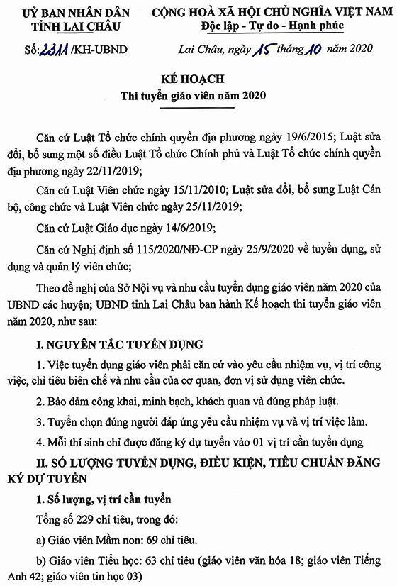 UBND tỉnh Lai Châu tuyển dụng giáo viên các cấp năm 2020
