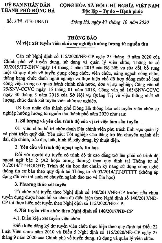 UBND thành phố Đông Hà, Quảng Trị tuyển dụng viên chức năm 2020