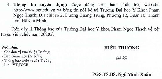 Đại học Y khoa Phạm Ngọc Thạch tuyển dụng viên chức năm 2020