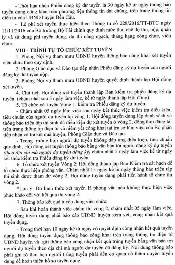 UBND huyện Bến Cầu, Tây Ninh tuyển dụng viên chức sự nghiệp giáo dục năm học 2020 - 2021