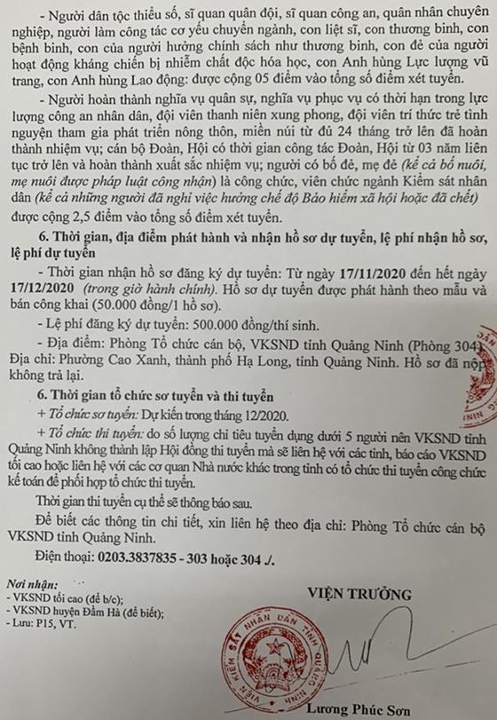 Viện Kiểm sát nhân dân tỉnh Quảng Ninh tuyển dụng công chức năm 2020