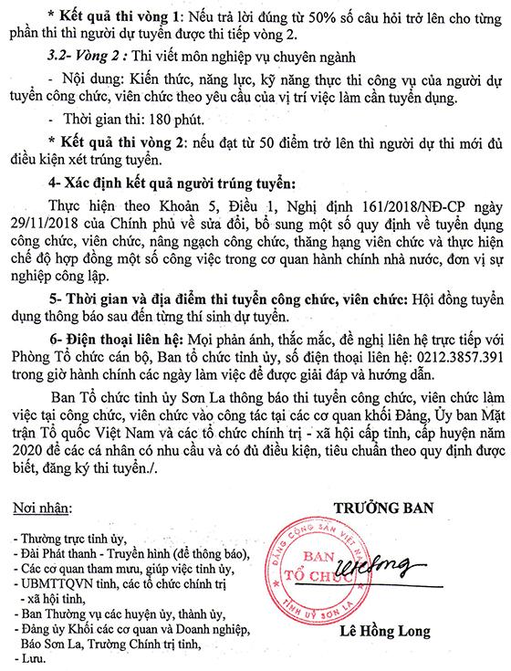 BTC Tỉnh ủy Sơn La tuyển dụng công chức, viên chức cấp tỉnh, huyện năm 2020