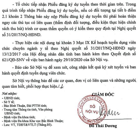 Sở Nội vụ tỉnh Bình Thuận tuyển dụng  viên chức ngành y tế năm 2020