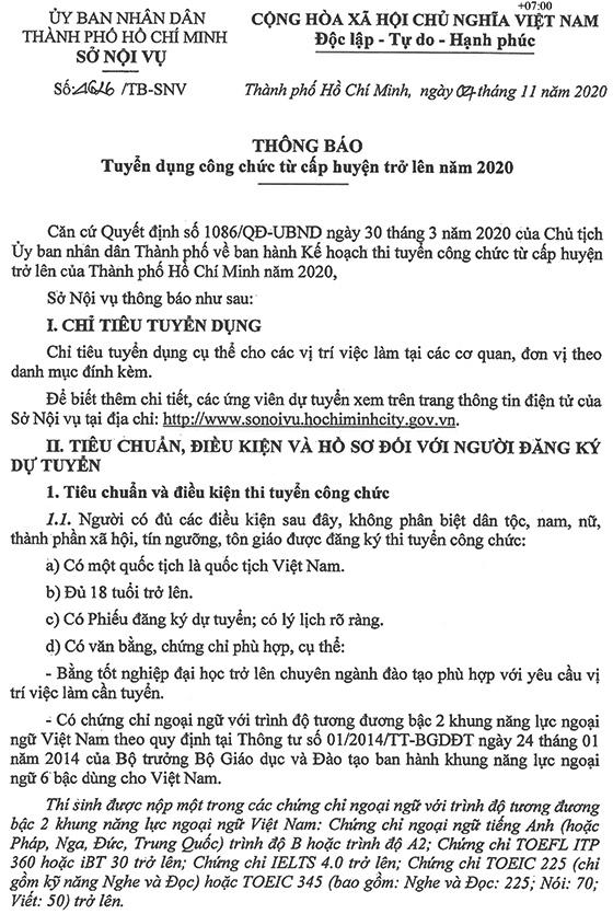 UBND TP. Hồ Chí Minh tuyển dụng công chức cấp huyện trở lên năm 2020