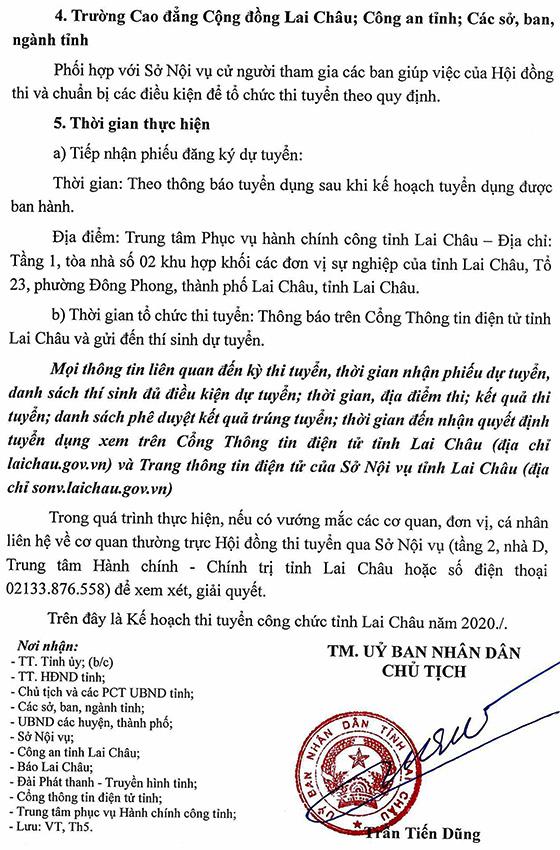 UBND tỉnh Lai Châu tuyển dụng công chức năm 2020