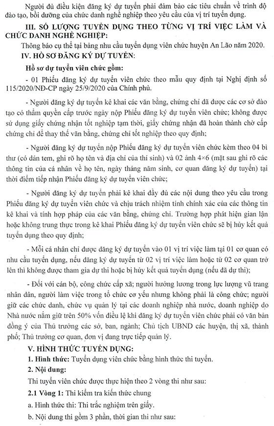 UBND huyện An Lão, Bình Định tuyển dụng viên chức năm 2020