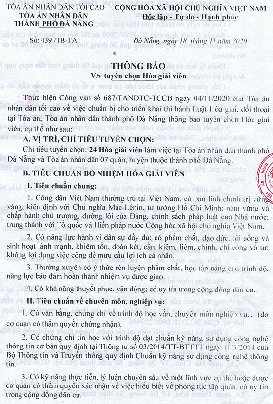 Tòa án nhân dân thành phố Đà Nẵng tuyển chọn Hòa giải viên năm 2020