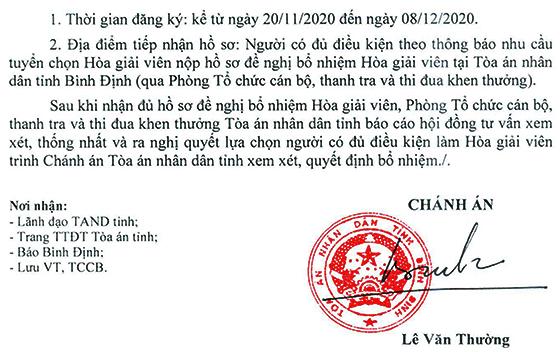 Tòa án nhân dân tỉnh Bình Định tuyển chọn Hòa giả viên năm 2020