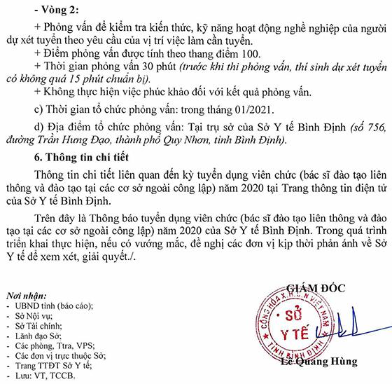 Sở Y tế tỉnh Bình Định tuyển dụng viên chức năm 2020