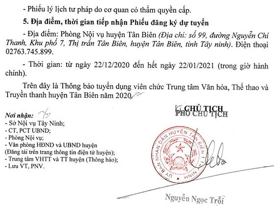 TT Văn hóa, Thể thao và Truyền thanh huyện Tân Biên, Tây Ninh tuyển dụng viên chức năm 2020