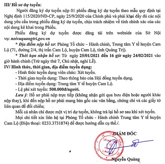 TTYT huyện Cam Lộ, Quảng Trị tuyển dụng viên chức năm 2020
