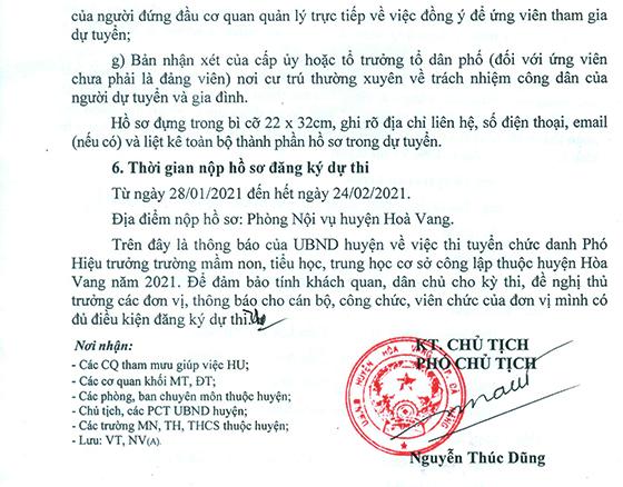 UBND huyện Hòa Vang, Đà Nẵng tuyển dụng chức danh Phó hiệu trưởng trường MN, TH, THCS năm 2021