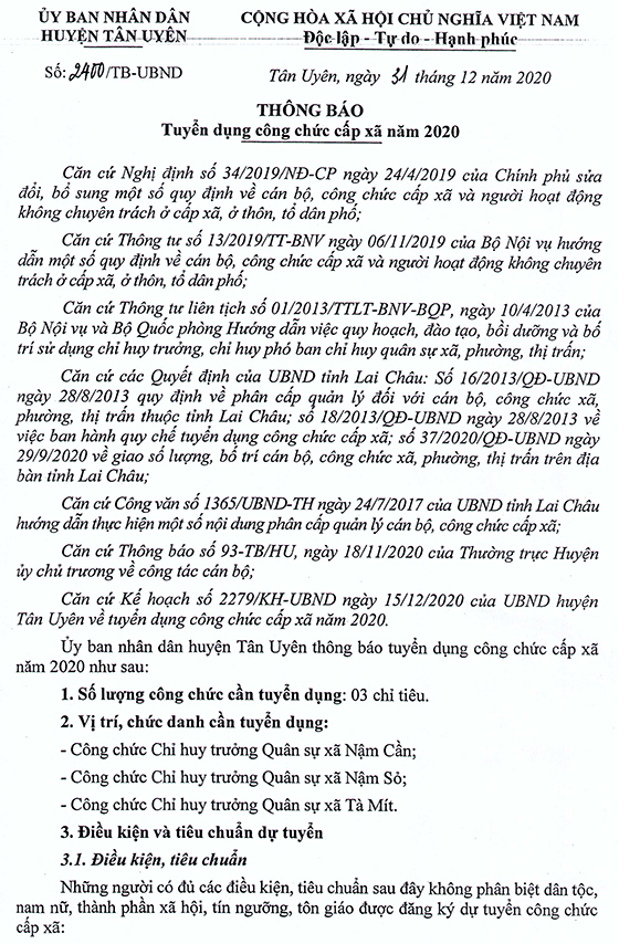 UBND huyện Tân Uyên, Lai Châu tuyển dụng công chức cấp xã năm 2020