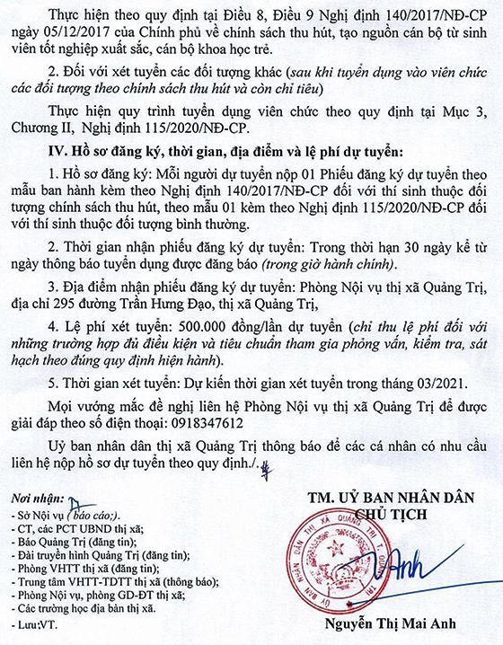 UBND thị xã Quảng Trị tuyển dụng nhân viên trường học năm học 2020-2021