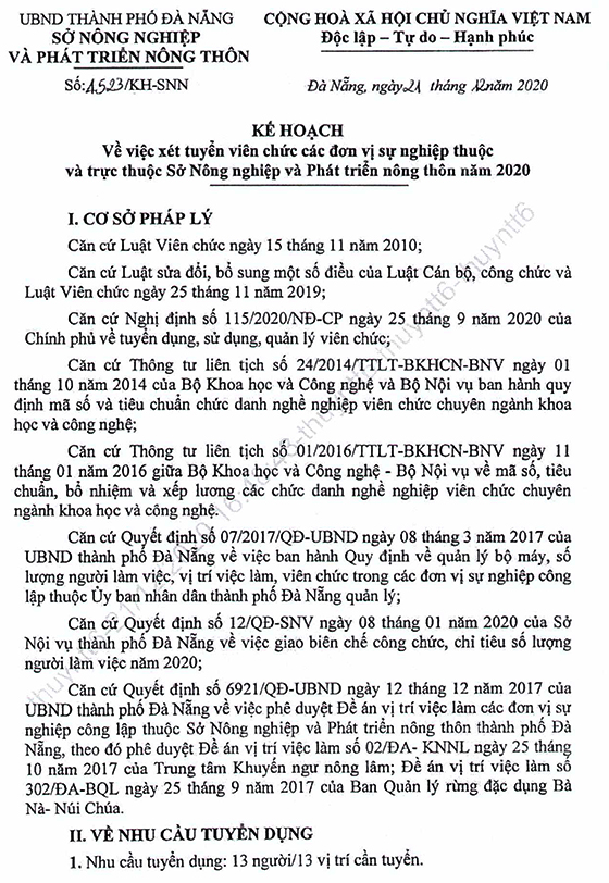 Sở Nông nghiệp và Phát triển nông thôn TP. Đà Nẵng tuyển dụng viên chức năm 2020
